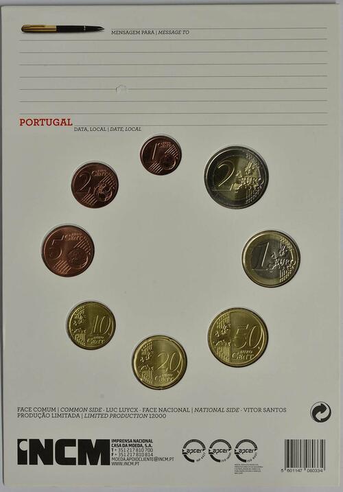 Rückseite:Portugal : 3,88 Euro KMS Portugal FDC  2016 vz/Stgl.
