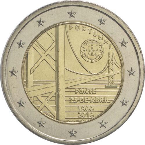 Rückseite :Portugal : 2 Euro 50 Jahre Brücke des 25. Aprils  2016 bfr