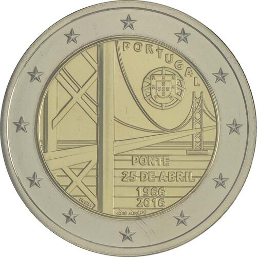 Rückseite:Portugal : 2 Euro 50 Jahre Brücke des 25. Aprils  2016 Stgl.