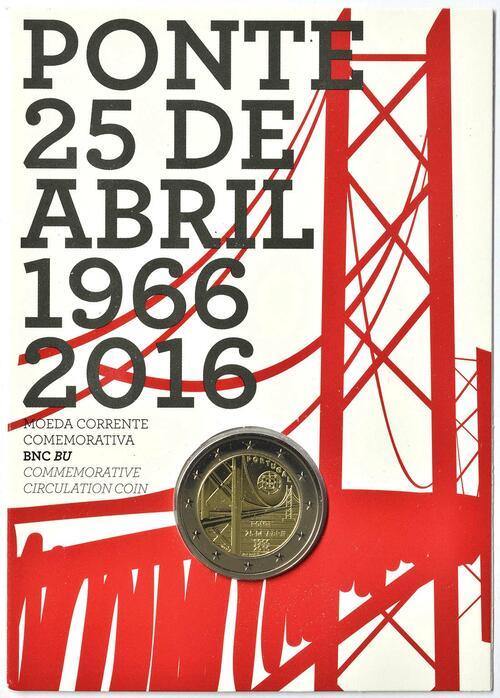 Lieferumfang :Portugal : 2 Euro 50 Jahre Brücke des 25. Aprils  2016 Stgl.