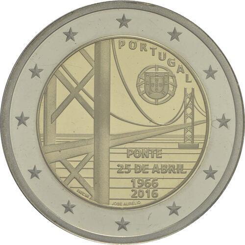 Rückseite:Portugal : 2 Euro 50 Jahre Brücke des 25. Aprils  2016 PP