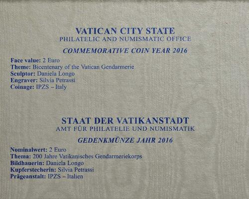 Zertifikat :Vatikan : 2 Euro 200 Jahre Vatikanisches Gendarmeriekorps  2016 Stgl.