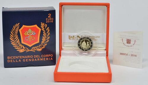 Lieferumfang:Vatikan : 2 Euro 200 Jahre Vatikanisches Gendarmeriekorps  2016 PP