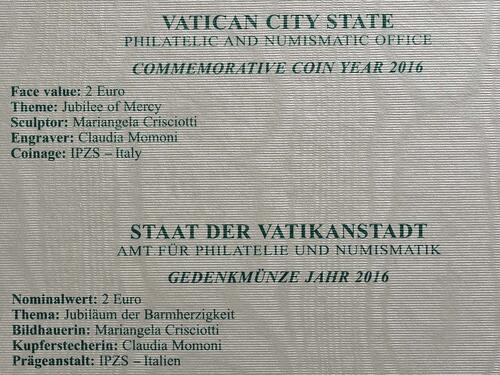 Zertifikat :Vatikan : 2 Euro Heiliges Jahr der Barmherzigkeit  2016 Stgl.