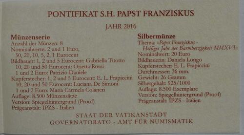 Zertifikat:Vatikan : 23,88 Euro KMS Vatikan mit 20 Euro Gedenkmünze  2016 PP