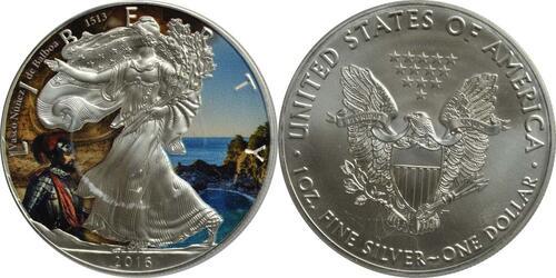 "Lieferumfang:USA : 1 Dollar Silber Eagle ""Vasco Nunez de Balboa""  2016 Stgl."
