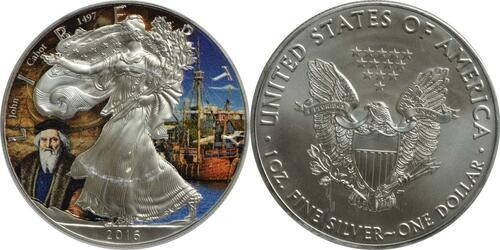 "Lieferumfang :USA : 1 Dollar Silber Eagle ""John Cabot""  2016 Stgl."