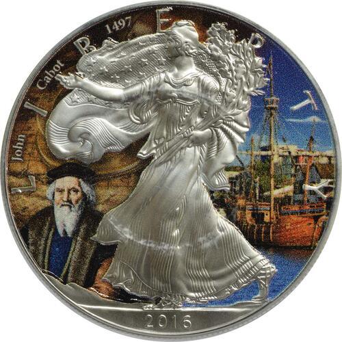 "Vorderseite :USA : 1 Dollar Silber Eagle ""John Cabot""  2016 Stgl."