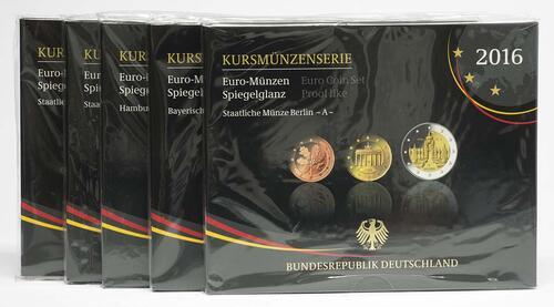 Lieferumfang:Deutschland : 29,4 Euro KMS Deutschland mit zusätzlicher 5 x 2 Euro Gedenkmünze komplett A-J  2016 PP