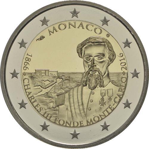 Rückseite:Monaco : 2 Euro 150. Jahrestag der Gründung Monte Carlos durch Charles III.  2016 PP