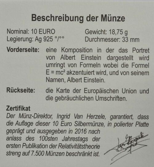 Zertifikat:Belgien : 10 Euro Albert Einstein  2016 PP