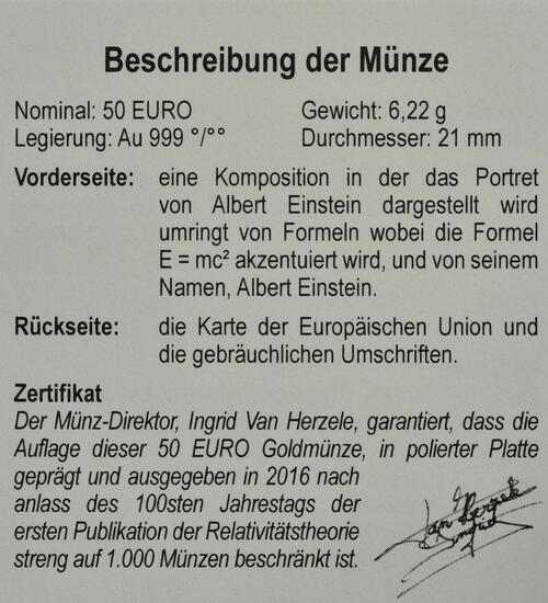 Zertifikat:Belgien : 50 Euro Albert Einstein  2016 PP