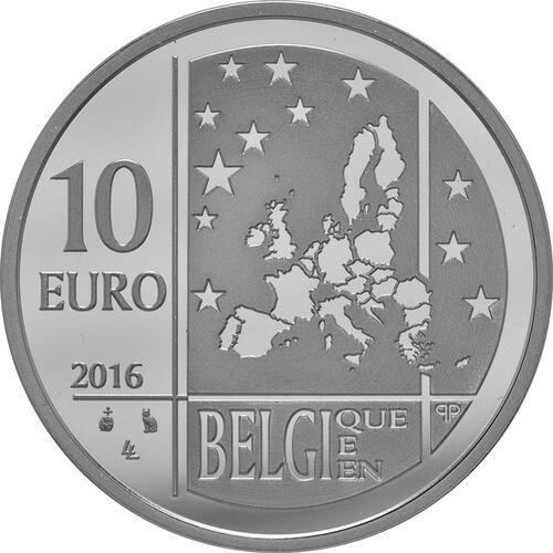 Rückseite:Belgien : 10 Euro Das belgische Team  2016 PP