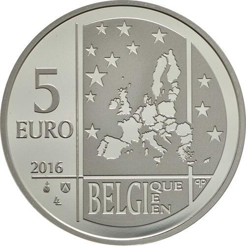 Rückseite:Belgien : 5 Euro Emile Verhaeren  2016 PP