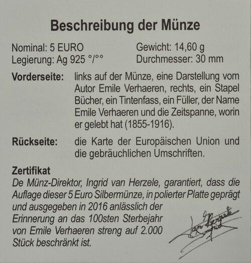 Zertifikat:Belgien : 5 Euro Emile Verhaeren  2016 PP