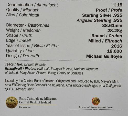 Zertifikat:Irland : 15 Euro 100 Jahre Osteraufstand 1916  2016 PP
