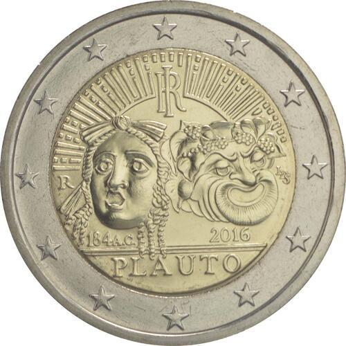 Rückseite :Italien : 2 Euro 2200. Todestag von Titus Maccius Plautus  2016 bfr