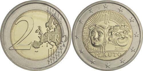 Lieferumfang :Italien : 2 Euro 2200. Todestag von Titus Maccius Plautus  2016 bfr