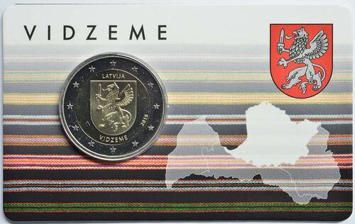 Lieferumfang :Lettland : 2 Euro Vidzeme  2016 Stgl.