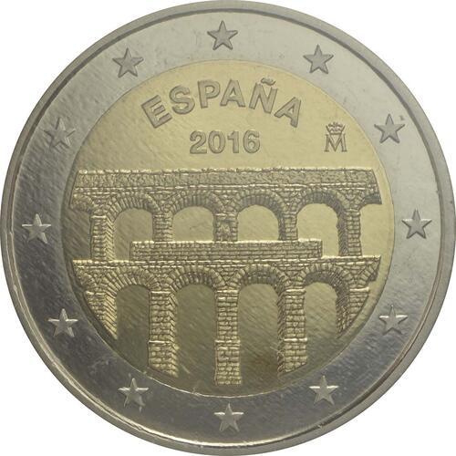 Rückseite :Spanien : 2 Euro Altstadt und Aquädukt von Segovia  2016 PP