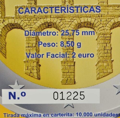 Zertifikat :Spanien : 2 Euro Altstadt und Aquädukt von Segovia  2016 PP