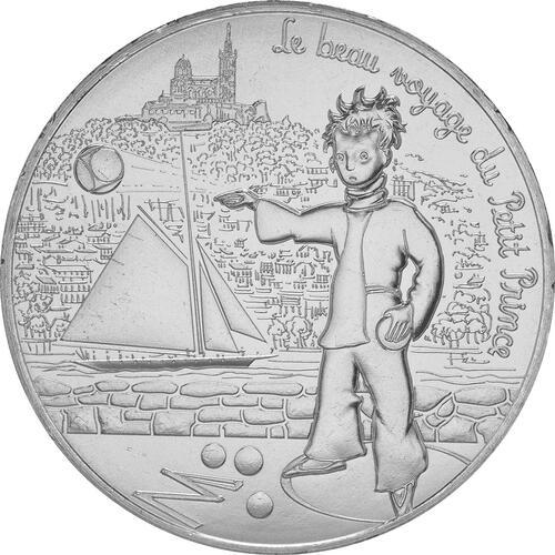 Vorderseite:Frankreich : 10 Euro 01/24 Der kleine Prinz spielt Boule in Marseille  2016 bfr