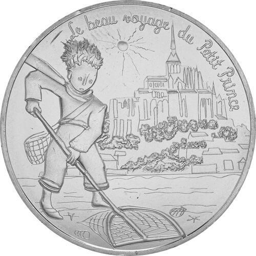 Vorderseite:Frankreich : 10 Euro 02/24 Der kleine Prinz beim Fischen in Mont Saint-Michel 2/24  2016 bfr