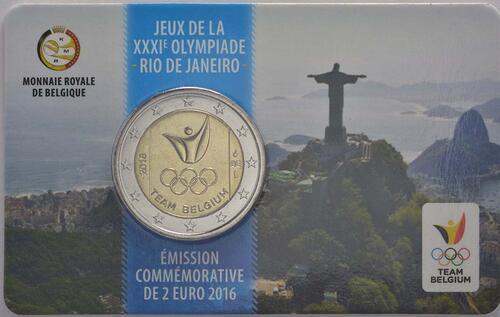 Rückseite:Belgien : 2 Euro Olympische Sommerspiele 2016 in Rio de Janeiro - French Edition  2016 bfr