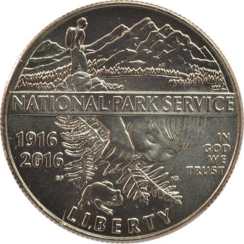 Vorderseite:USA : 1/2 Dollar 100 Jahre National Park Service  2016 Stgl.