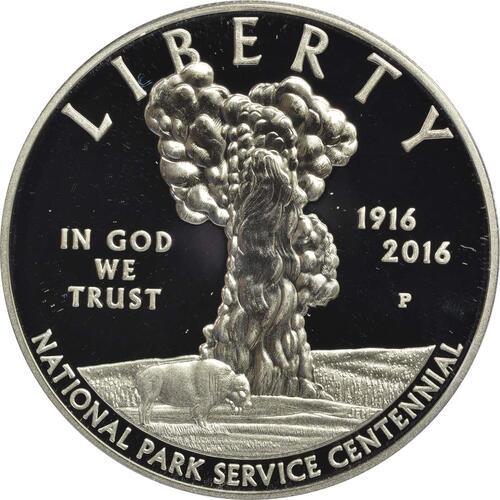 Vorderseite:USA : 1 Dollar 100 Jahre National Park Service  2016 PP