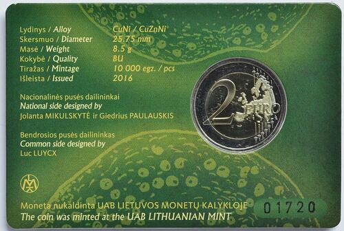 Zertifikat :Litauen : 2 Euro Baltische Kultur  2016 Stgl.