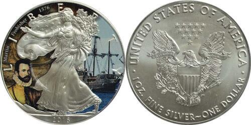 """Lieferumfang :USA : 1 Dollar Silber Eagle """"John Martin Frobisher""""  2016 Stgl."""