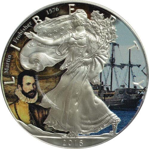 "Vorderseite :USA : 1 Dollar Silber Eagle ""John Martin Frobisher""  2016 Stgl."