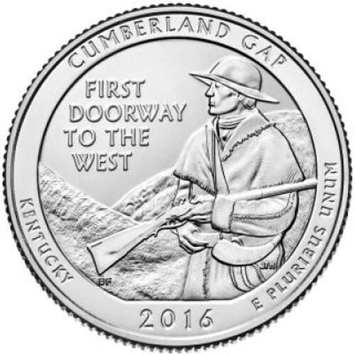 Lieferumfang :USA : 25 Cent Cumberland Gap Nat. Historical Park - Kentucky  2016 Stgl.