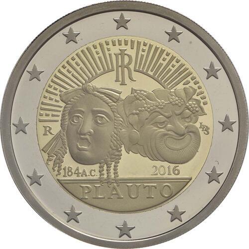 Rückseite:Italien : 2 Euro 2200. Todestag von Titus Maccius Plautus  2016 PP
