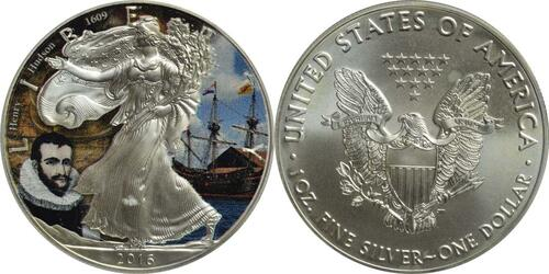 Lieferumfang :USA : 1 Dollar Silber Eagle - Henry Hudson  2016 Stgl.