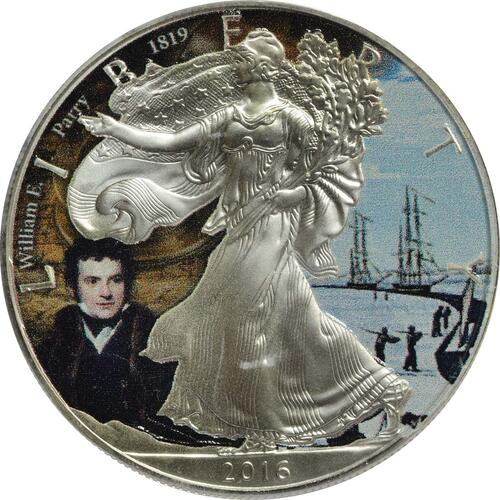 Vorderseite :USA : 1 Dollar Silber Eagle - William E. Parry  2016 Stgl.