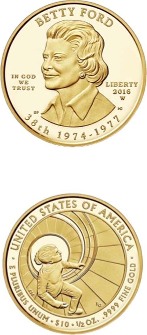 Lieferumfang:USA : 10 Dollar Präsidentengattinnen - Betty Ford  2016 PP