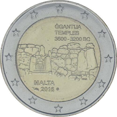 Vorderseite:Malta : 5,88 Euro KMS Malta mit 2 Euro Gedenkmünze Ggantija Tempelanlage auf Gozo  2016 bfr