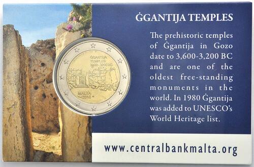 Rückseite :Malta : 2 Euro Ggantija Tempelanlage auf Gozo  2016 bfr