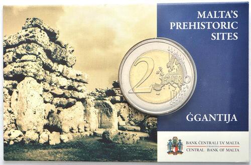 Lieferumfang :Malta : 2 Euro Ggantija Tempelanlage auf Gozo  2016 bfr