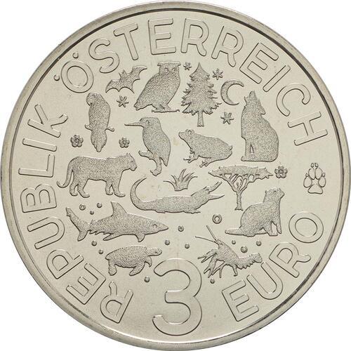 Rückseite:Österreich : 3 Euro Fledermaus 1/12  2016 Stgl.
