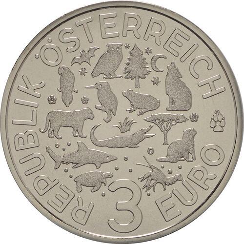 Rückseite :Österreich : 3 Euro Krokodil 3/12  2017 Stgl.