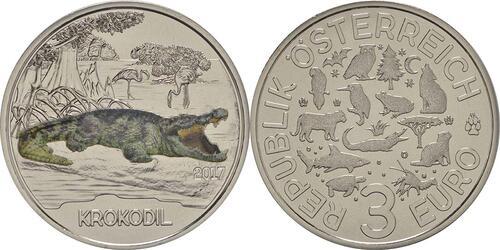 Lieferumfang :Österreich : 3 Euro Krokodil 3/12  2017 Stgl.
