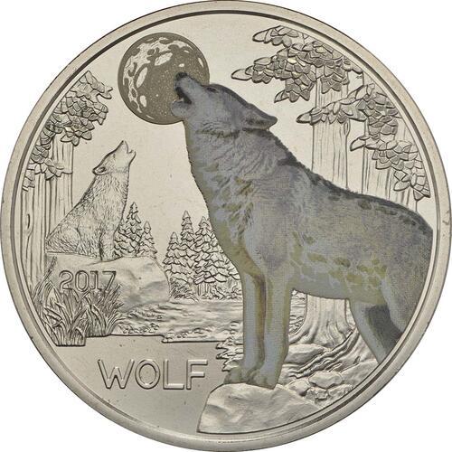 Vorderseite :Österreich : 3 Euro Wolf 5/12  2017 Stgl.