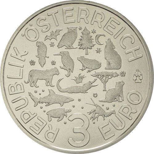 Rückseite:Österreich : 3 Euro Papagei 6/12  2018 Stgl.