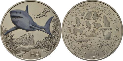 Lieferumfang:Österreich : 3 Euro Hai 7/12  2018 Stgl.