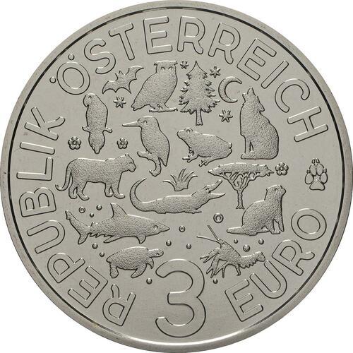 Rückseite:Österreich : 3 Euro Eule 8/12  2018 Stgl.