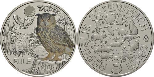 Lieferumfang:Österreich : 3 Euro Eule 8/12  2018 Stgl.