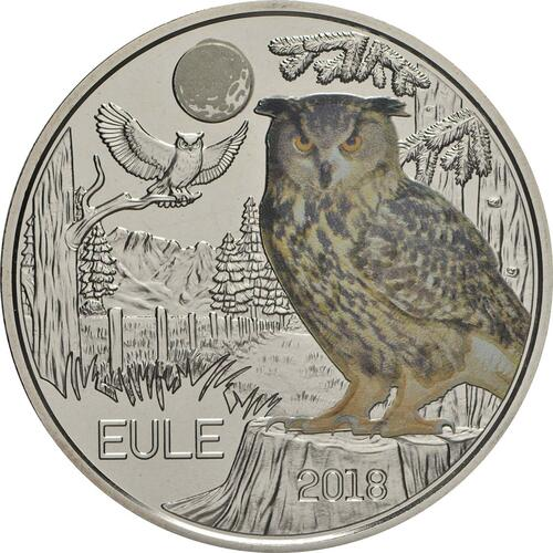 Vorderseite:Österreich : 3 Euro Eule 8/12  2018 Stgl.